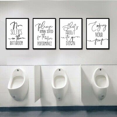 Funny Words Quote Toilet Bathroom Art Print Picture Wall Hanging Canvas Painting