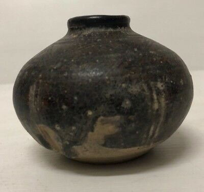 ANTIQUE  15thc - 17thc AYUTTHAYA  KINGDOM  BROWN  GLAZED SPICE JAR  VASE