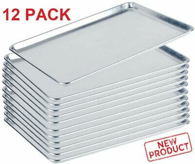 "12 PACK Full Size Aluminum Baking Pan Bun Sheet Pans 18""x26"" Commercial Wire Rim"