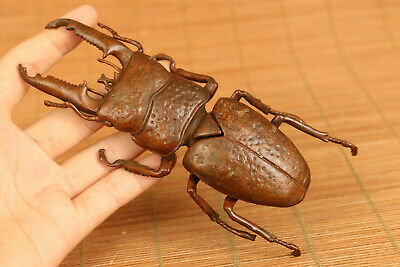 AAA Big beetle old bronze hand casting statue Tea tray table decorate