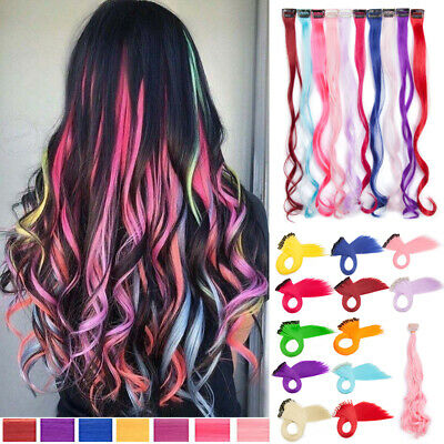 UK 10x Strands Highlight Clip In Hair Peices Extensions Chose Colours Real Long