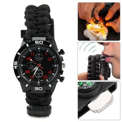 Multi-Function Dual Compass Outdoor Survival Paracord Rope Woven Whistle Watch