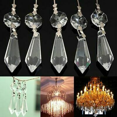 10Pcs 38mm Clear Hanging Drops Pendants Chandelier Crystals Glass Prisms Parts