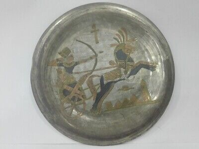 Tray Egyptian Pharaoh Plate Brass Egypt Cairoware Hanging Dish Wall Etched nice
