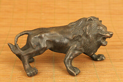 chinese old bronze hand carved lion statue figure collectable ornament
