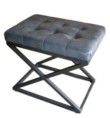 Blue Grey Leather Stool / Footrest - Metal X Legs Frame Cushioned Buttoned Seat