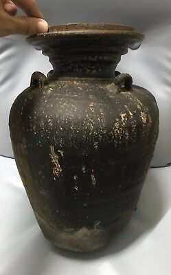 LARGE ANTIQUE 16 - 18thc THAI SAWANKHALOK  CELADON STONEWARE WATER  VASE '