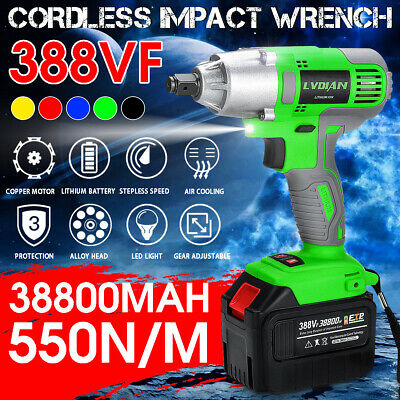 """Electric Cordless 1/2"""" Impact Wrench Rattle Driver Hand Drill Tools 38800mAh"""