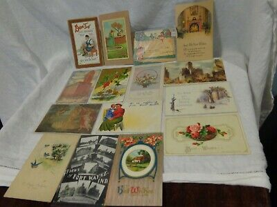 15 Vintage Antique Lot Postcards Souvenir Holiday Embossed Invitation Italy