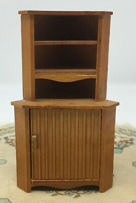 Vintage Mid Century Wood Dollhouse Miniature Hutch Corner Cabinet Furniture