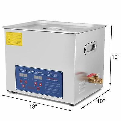 Stainless Steel 10L Industry Heated Ultrasonic Cleaner Heater w/Timer Display US