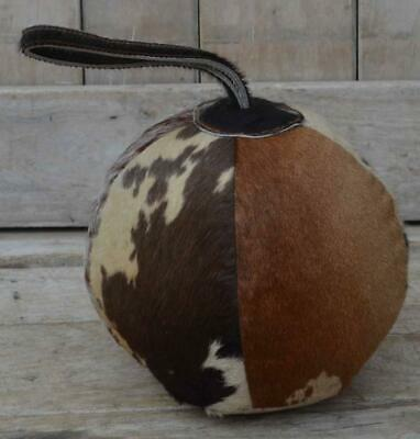 Round Ball Doorstop - Cowhide Hair on Leather - Leather Handle
