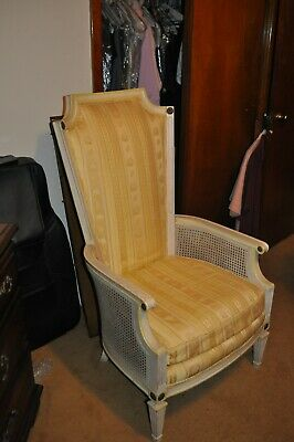 Vintage Highback Upholstered Key City Chair Italian Provincial with Caning