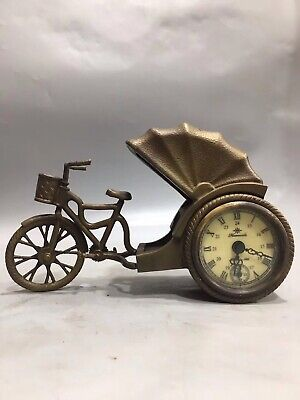 Chinese Old copper rickshaw Mechanical clock table Home Decoration