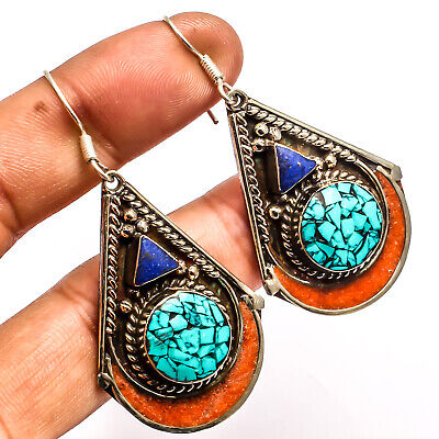 Blue Turquoise Red Coral Lapis Lazuli 925 Silver Overlay Earring Jewelry Sz 2.38