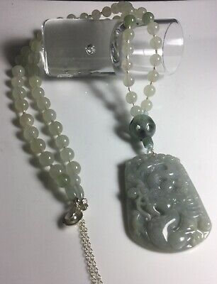 Certified Grade A Jadeite Icy Elegance Full Rust green Carved Pendant Necklace