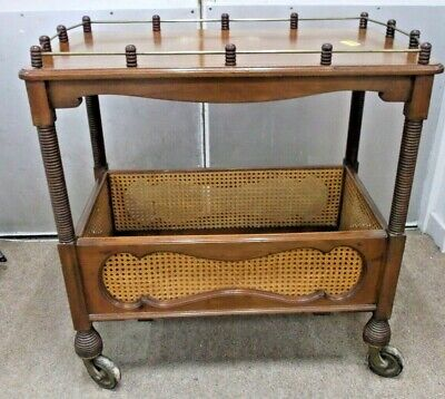 Antique Edwardian Style Teak Veneer Dark Wood Drinks / Serving Trolley - B74