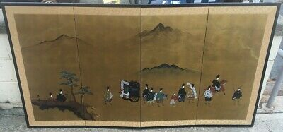 Vintage Japanese Four Panel Signed Screen Painting - Gold Ground - Procession