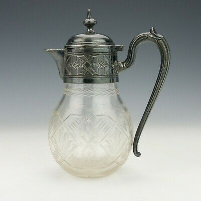 Antique Plated White Metal & Glass - Aesthetic Movement Claret Jug - Unusual!