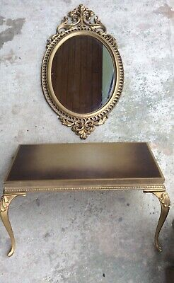 Vtg HOMCO HOME INTERIORS SYROCO dart turner wall MIRROR AND SHELF gold