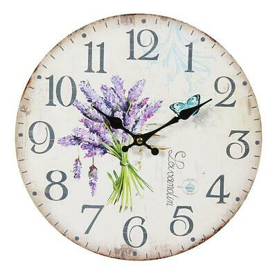 Lavender Wall Clock in Country House Style, Romantic with Lavendelstrauß 28 CM