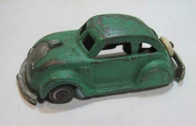 """Vintage Early 1930's Cast Iron Hubley Chrysler Airflow Toy Car 4 1/2"""" Green"""