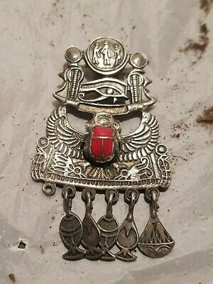 Rare Antique Ancient Egyptian Silver Hanger Scarab Eye Horus 2 Cobra1790-1680BC