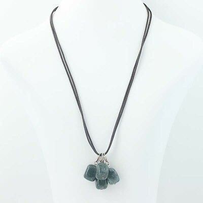 NEW Moss Agate Strap Necklace - Sterling Silver 925 Green Black