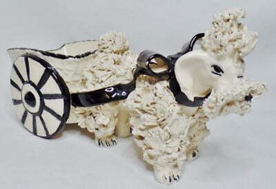 Vintage Mid Century Modern Mcm Signed Shabby Spaghetti Poodle Cart Planter Italy