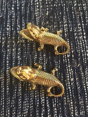 1950's Antique Crocodiles Brass Ash Tray/ Paper Weights