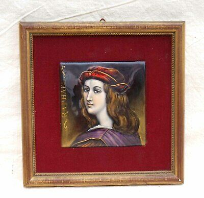 Raphael Portrait French Framed Enameled Painting Limoges 19 th Century