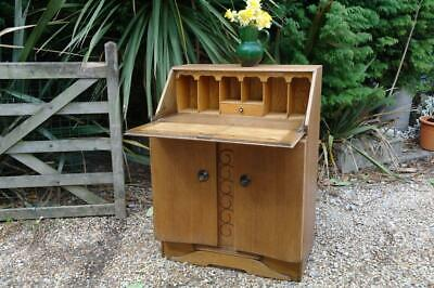 Vintage 1930's Art Deco Bureau Writing Desk Beech & Light Oak With Cabinet CHIC