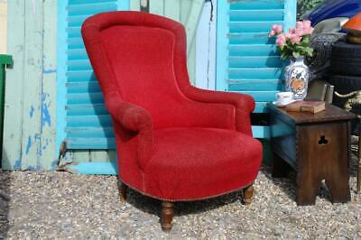 Antique Victorian Lounger Armchair Country House Quality, Lipstick Red Wool Chic