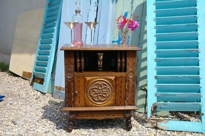 Vintage French Breton Carved Oak Side Table Cabinet Or Small Drinks Cabinet CHIC