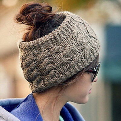 Women Winter Knitted Ear Warmer Headband Ladies Crochet Wool Hat Hairband CB