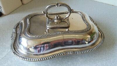 Antique Vintage Silver Plated Lidded Entree Serving Dish - 10 X 7 Inches
