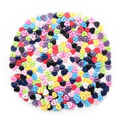 100pcs Heart Shape Resin buttons for Sewing Scrapbooking Cloth Crafts Decor 6mm