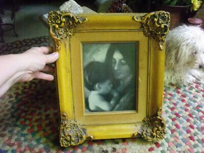 Beautiful Vintage Wood Frame With Mother & Child Print Mustard Yellow Finish 6X8