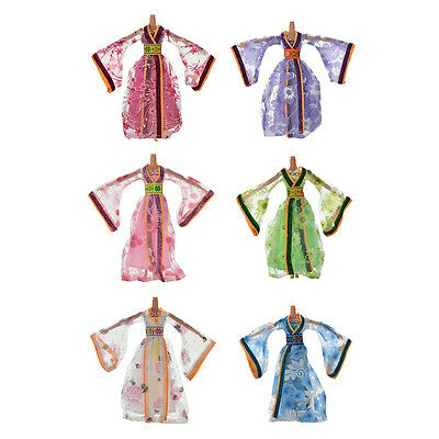 Dress for s Classical Beautiful Chinese Ancient Dress Doll Toy 6 Colors JG