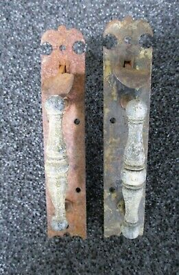 Antique Pair Norfolk Wrought Cast Iron Barn Entry Door Thumb Latches 6 1/2""