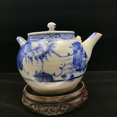 Antique Asian China Chinese Japan Japanese Porcelain Teapot Painted Blue White
