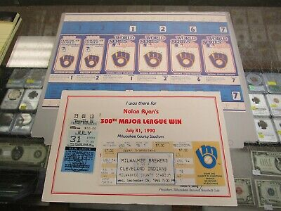 Collection Of Collectible Milwaukee Brewers Tickets From Famous Games