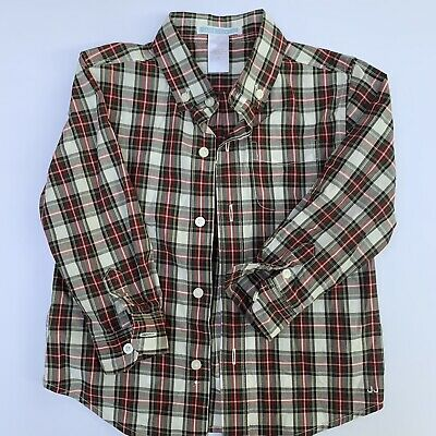 JANIE AND JACK Boys Plaid Button Up Shirt Size 24 Months 2T