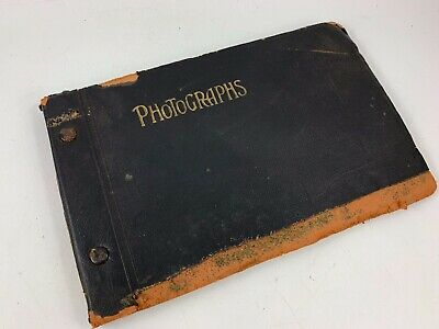 Antique Well Loved Early Photo Album With Some Great Black & White Snapshots
