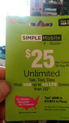 SIMPLE MOBILE $40 PLAN REFILL CARD RE UP TOP UP - 6GB 4G