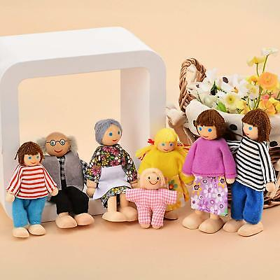 Wooden Furniture Dolls House Family Miniature 7 People Doll Harmony Kids Toys
