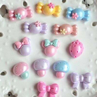 20 Mixed Color Flatback Resin Cabochons Assorted Shape Candy Bows Mouse Mushroom