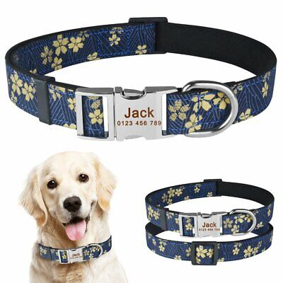Personalized Dog Collar Nylon ID Name Custom Engraved Small Medium Large Dogs