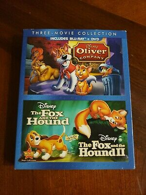 Oliver and Company+The Fox & the Hound 1&2 Disney 3 Movie Collection BluRay+DVD