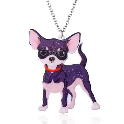 Cute Fashion Print Pattern Dog Animals Pendant Necklace Women Chain Jewelry Gift